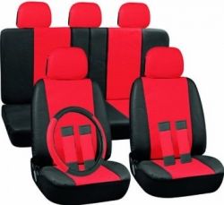 Universal car seat cover set, black/red ― AUTOERA.CO.UK