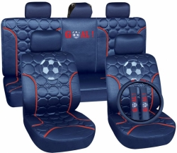 Poliester car seat cover set with zippers - Football, blue/silver ― AUTOERA.CO.UK