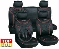 "Poliester car seat cover set with zippers ""Classic"", black/red ― AUTOERA.CO.UK"