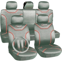 "Poliester car seat cover set with zippers ""Classic"", silver/red"