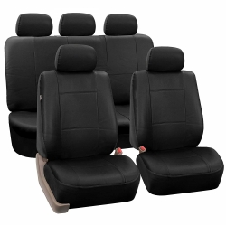 Leather imitation car seat cover set with zippers, black ― AUTOERA.CO.UK