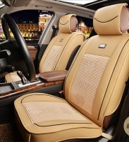 Leather imitation seat covers with textile inserts and zippers, beige