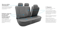 Leather imitation car seat cover set with zippers - VILKAN BARON, grey color
