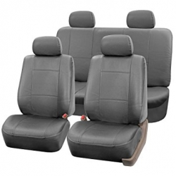 Leather imitation car seat cover set with zippers - VILKAN BARON, grey color ― AUTOERA.CO.UK