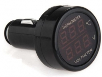 2in1 Digital Voltmeter + Termometer , 12V/24V